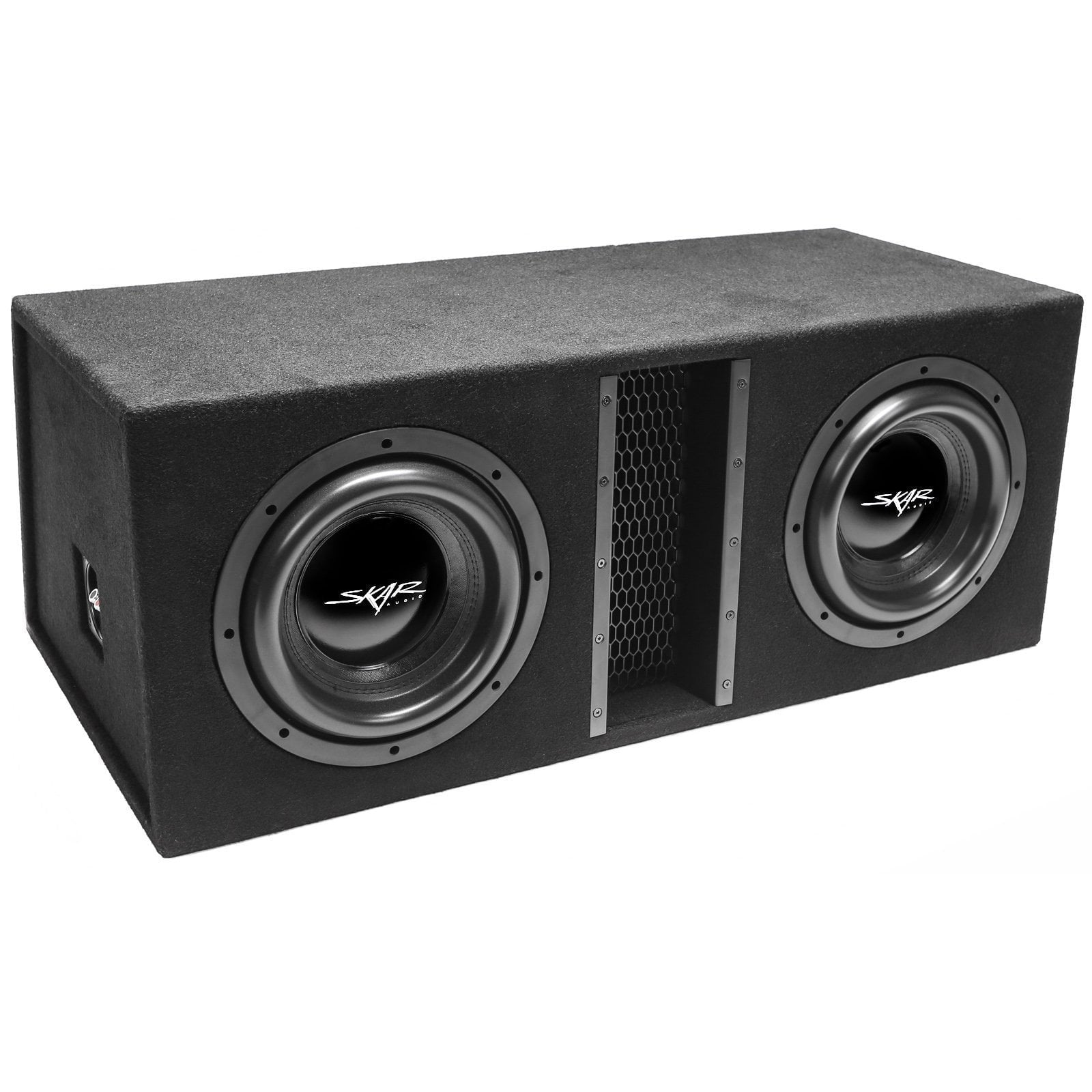 "Skar Audio EVL-2X10D4 Dual 10"" EVL Loaded Vented Subwoofer Enclosure - Angle View"