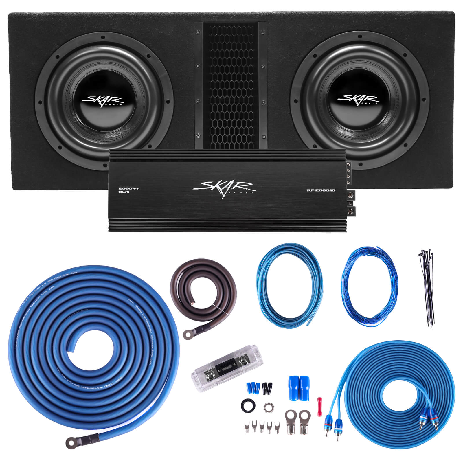 "Skar Audio Dual EVL 10"" 4000 Watt Loaded Sub Box and Amplifier - Package View"