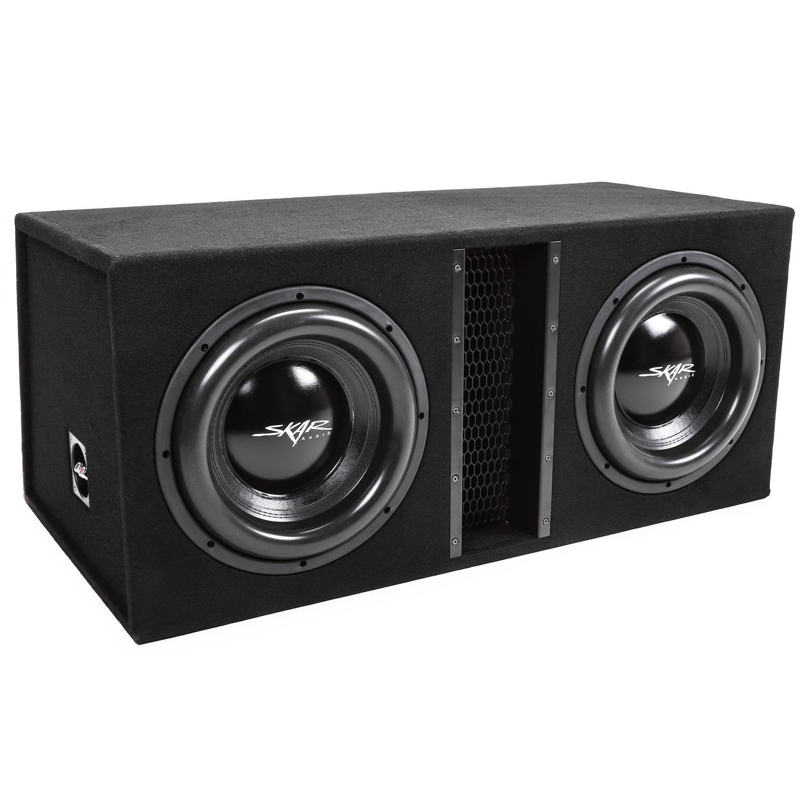 "Skar Audio EVL-2X12D4 Dual 12"" EVL Loaded Vented Subwoofer Enclosure - Angle View"