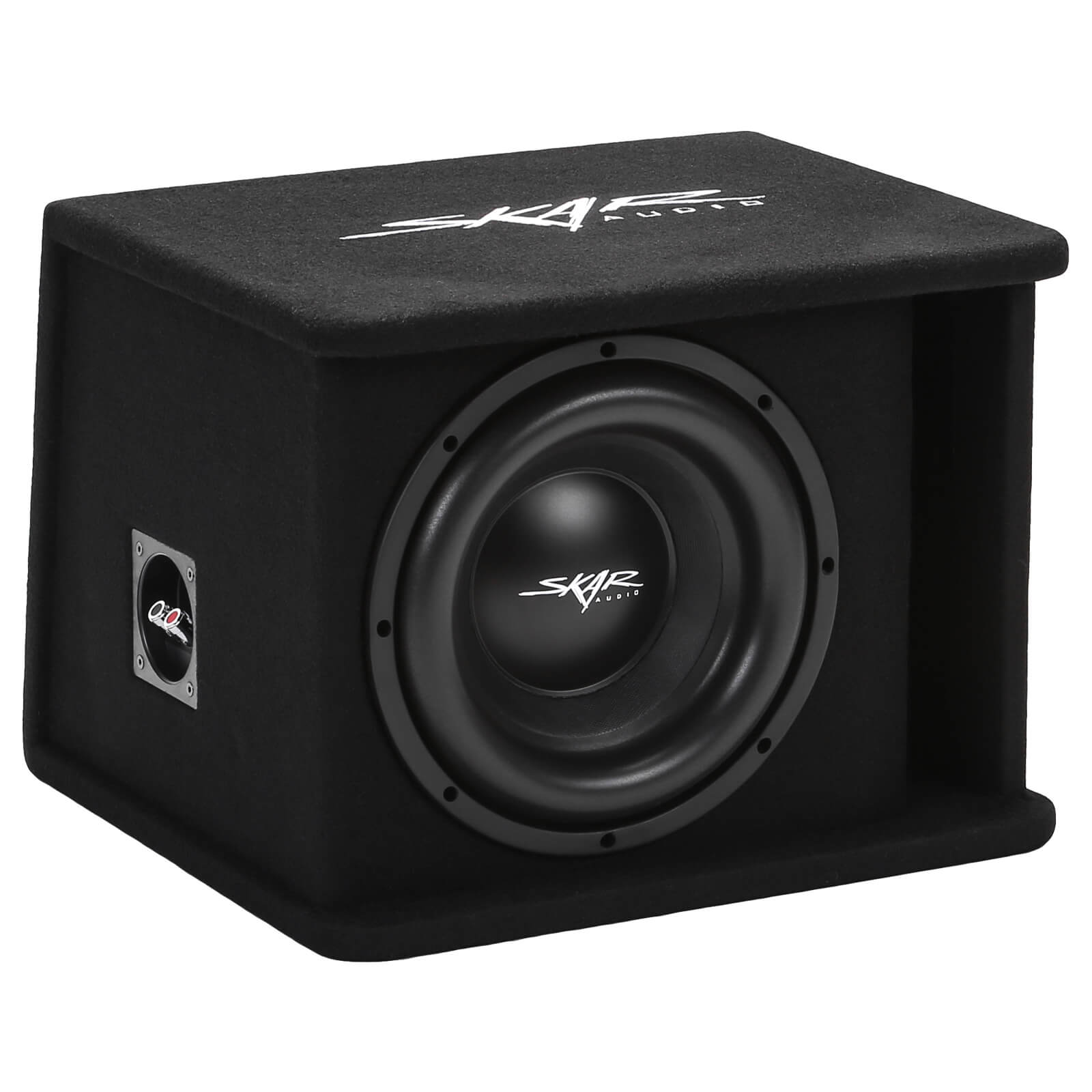 "Skar Audio SDR-1X10D2 Single 10"" SDR Loaded Vented Subwoofer Enclosure - Front Angle View"