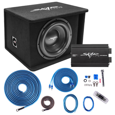 "Skar Audio Single SDR 12"" 1200 Watt Loaded Sub Box and Amplifier - Package View"