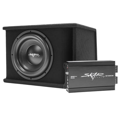 "Skar Audio Single SDR 12"" 1200 Watt Loaded Sub Box and Amplifier - Angle View"