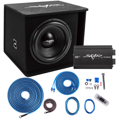 "Skar Audio Single SDR 15"" 1200 Watt Loaded Sub Box and Amplifier - Package View"