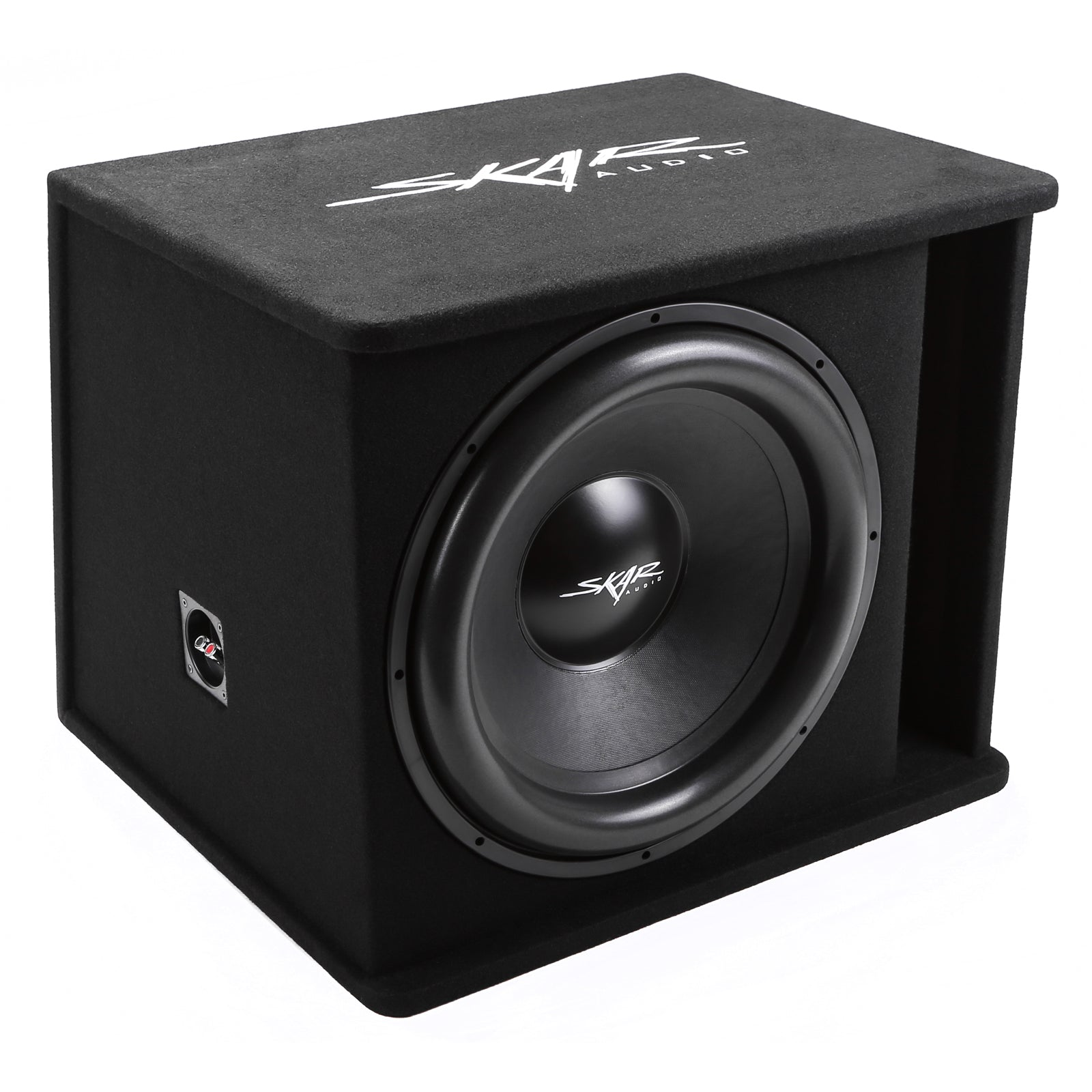 "Skar Audio SDR-1X18D2 Single 18"" SDR Loaded Vented Subwoofer Enclosure - Angle View"