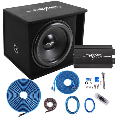 "Skar Audio Single SDR 18"" 1,200 Watt Loaded Sub Box and Amplifier - Package View"