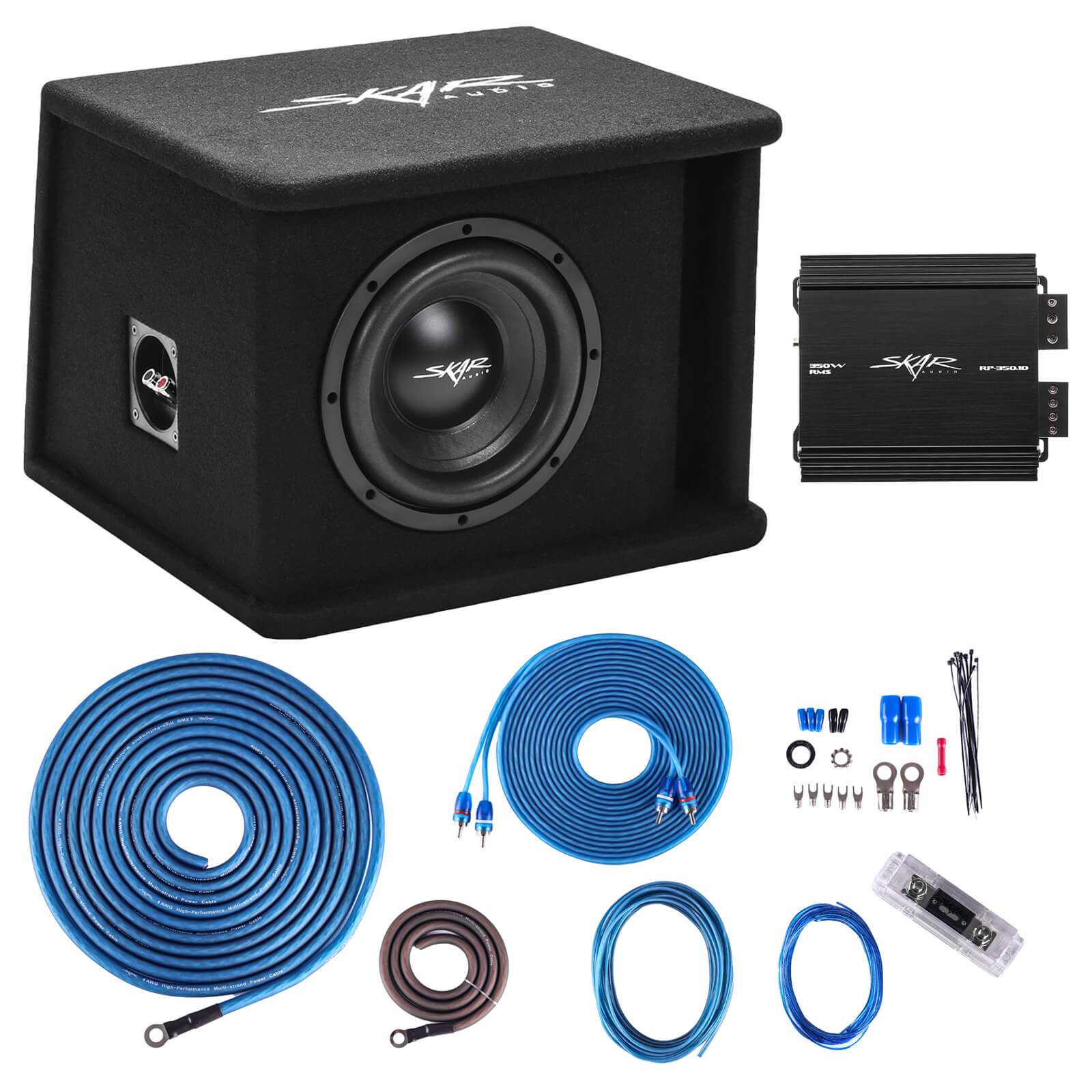 "Skar Audio Single 8"" 700 Watt SDR Series Complete Subwoofer Package with Vented Enclosure and Amplifier - Main View"