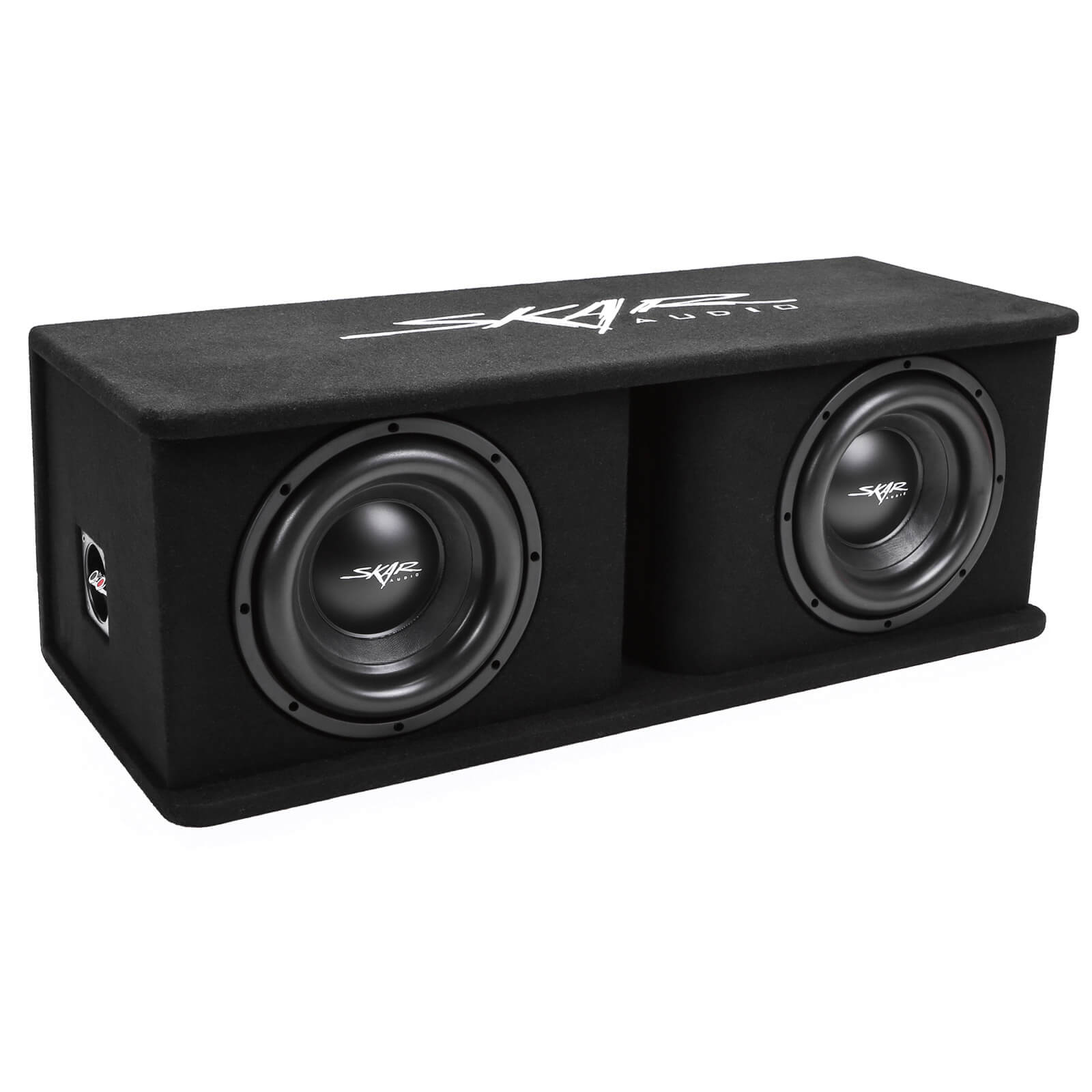 "Skar Audio SDR-2X10D4 Dual 10"" SDR Loaded Vented Subwoofer Enclosure - Angle View"