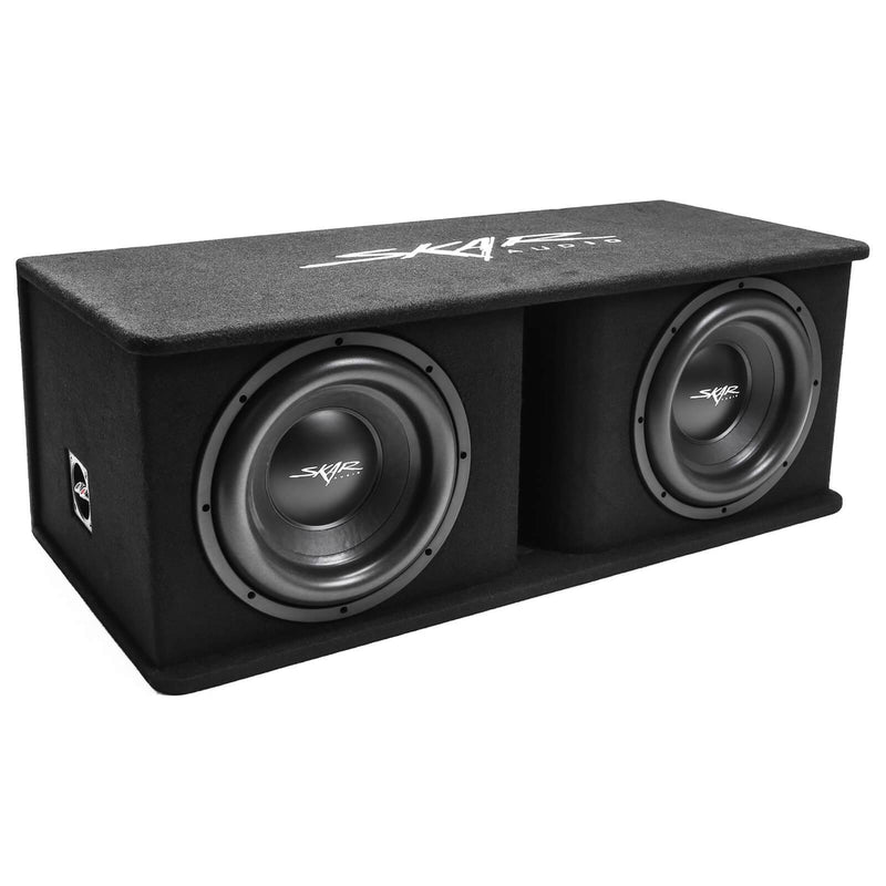 "Skar Audio SDR-2X12D4 Dual 12"" SDR Loaded Vented Subwoofer Enclosure - Angle View"
