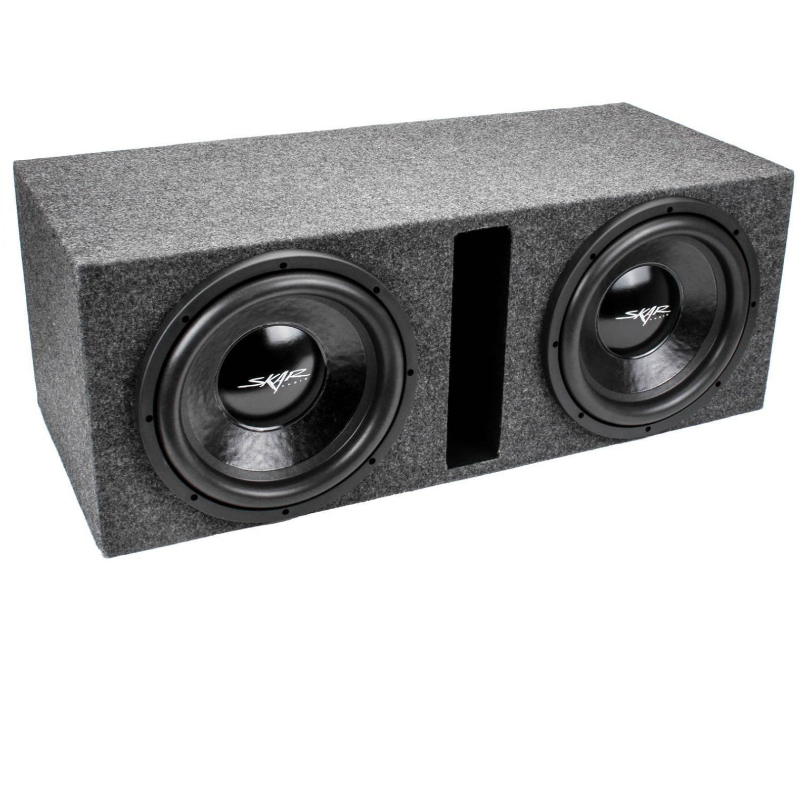 "Skar Audio IX12-2X12VENTED Dual 12"" IX Loaded Vented Subwoofer Enclosure - Angle View"