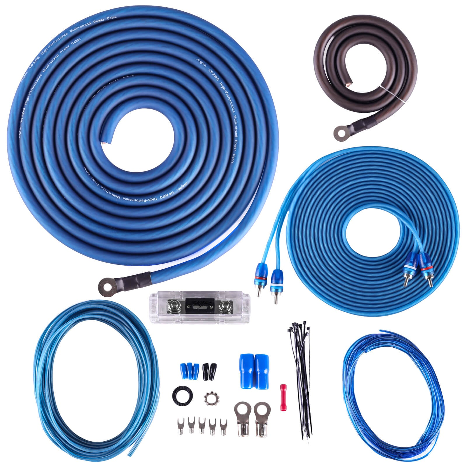 Skar Audio SKAR0ANL-CCA 1/0 Gauge CCA 2,000 Watt Complete Amplifier Installation Wiring Kit - Main Image