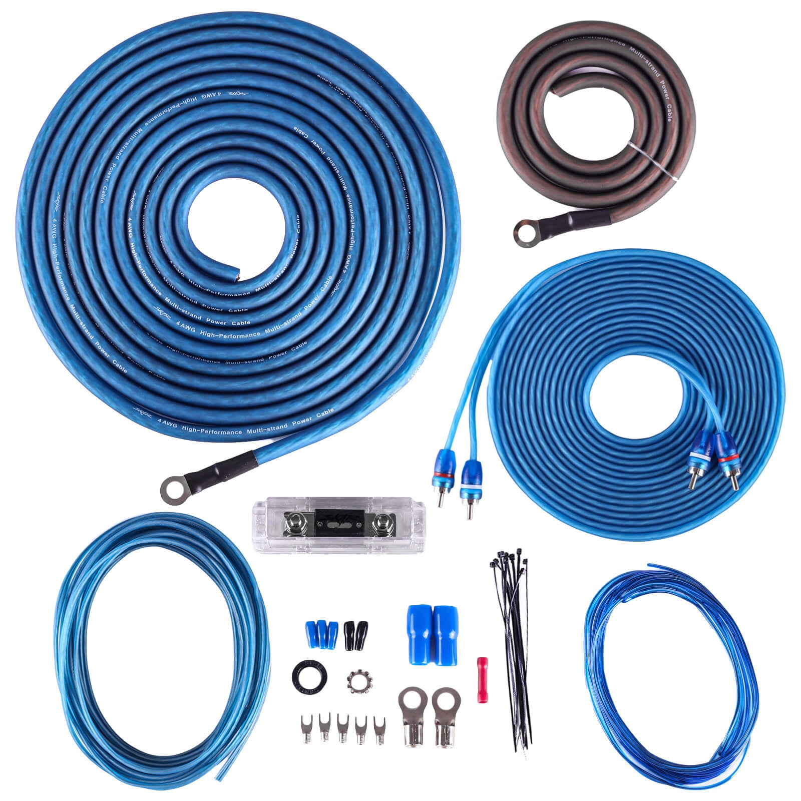 Skar Audio SKAR4ANL-CCA 4 Gauge CCA 1,200 Watt Complete Amplifier Installation Wiring Kit - Main Image