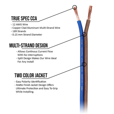 Skar Audio 12-Gauge CCA Speaker Wire (Blue/Brown) - Illustration Image