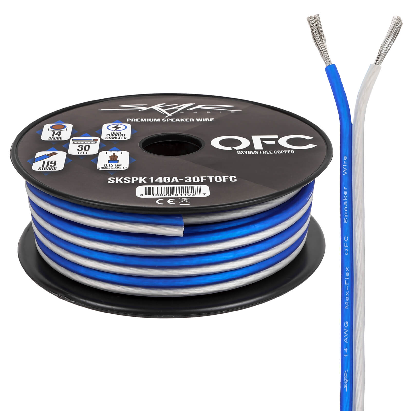 14-Gauge Elite Series Max-Flex (OFC) Speaker Wire - Blue/White - Main Image
