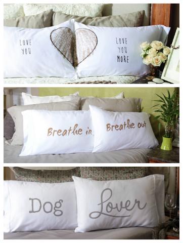 Pillowcase sets with playful messages