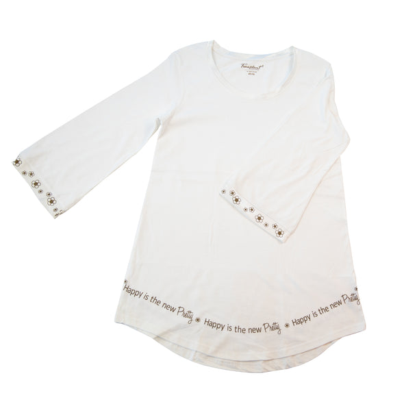 Happy Is The New Pretty - Bell Sleeve Sleepshirt - 100% Cotton
