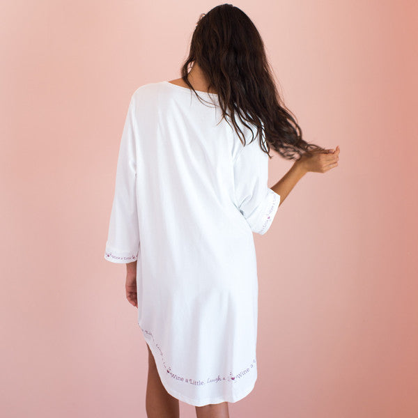 Wine a Little, Laugh a Lot - Cozy Collection Belle Sleeve Nightgown