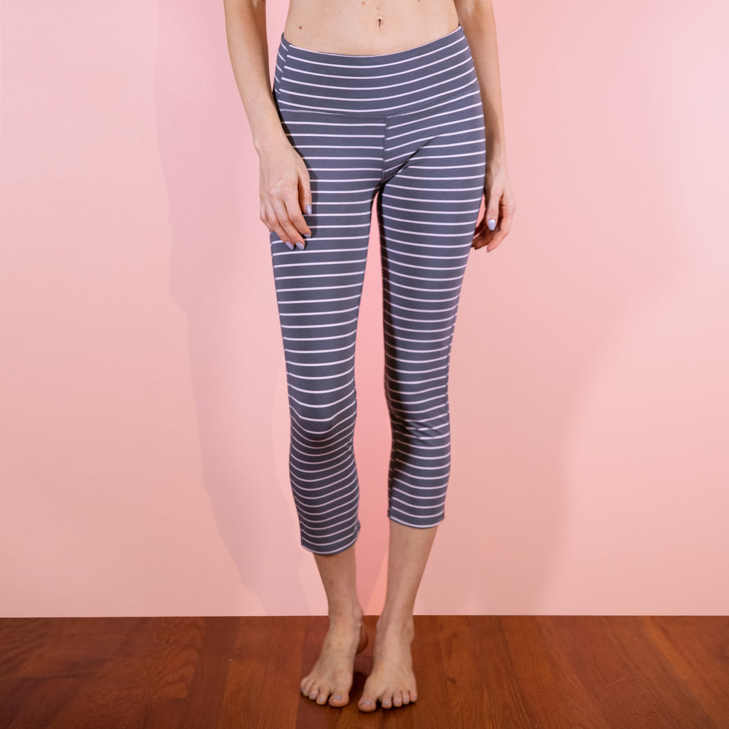 NEW Faceplant Athleisure Capri Pants - Earl Grey/Pink Stripe