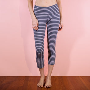 Faceplant Athleisure Capri Pants - Earl Grey/Pink Stripe