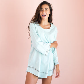 Love Me, Love My Dog - Aqua Bell Sleeve Sleepshirt - 100% Cotton