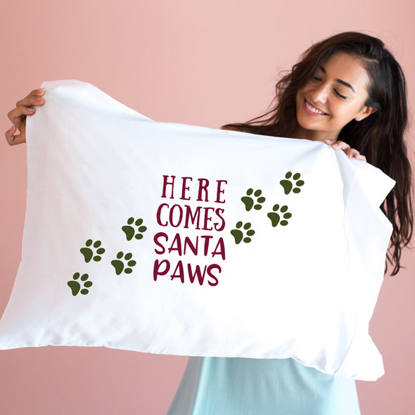 Here Comes Santa Paws Pillowcase