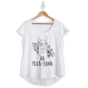 NEW - No Probllama Cotton Ruffle Tee