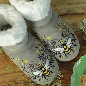 Queen Bee Grey Bedroom Booties