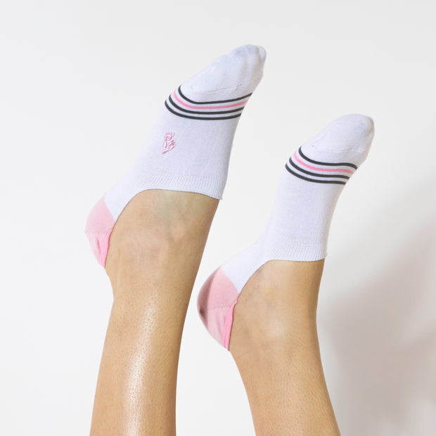 Faceplant Bamboo® No Show Socks - White/Pink 1