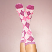 Bamboo Socks: Be Bold Argyle Pink
