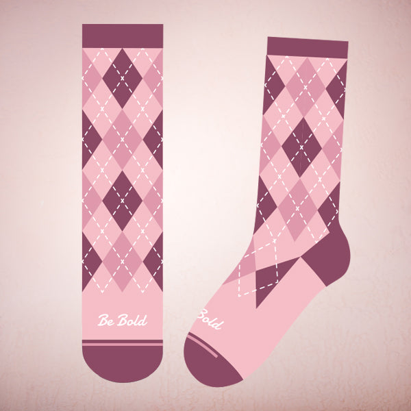 Faceplant Bamboo® Socks: Be Bold Argyle Pink