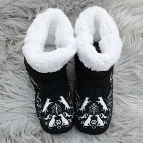 Dog Paw Black Bedroom Booties