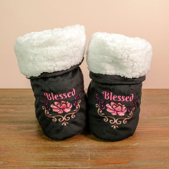 Blessed Lotus Flower Black Bedroom Booties