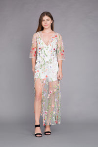 White Persephone Gown with Romper Underlay