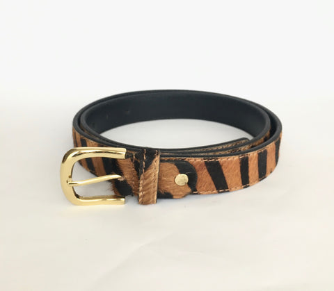Tiger print hide belt