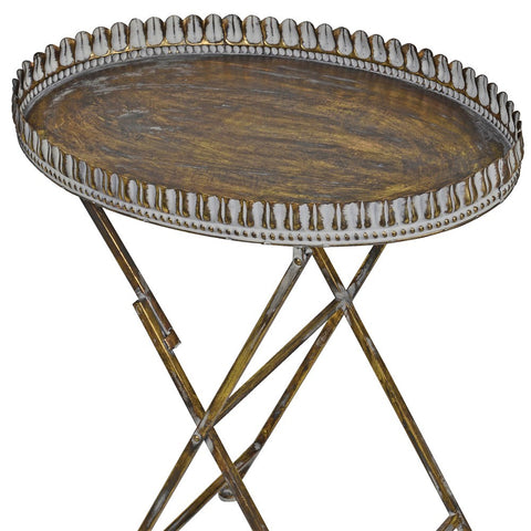 Oval metal tray table