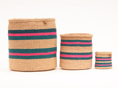 Turquoise, Pink and Sand Woven Storage Baskets