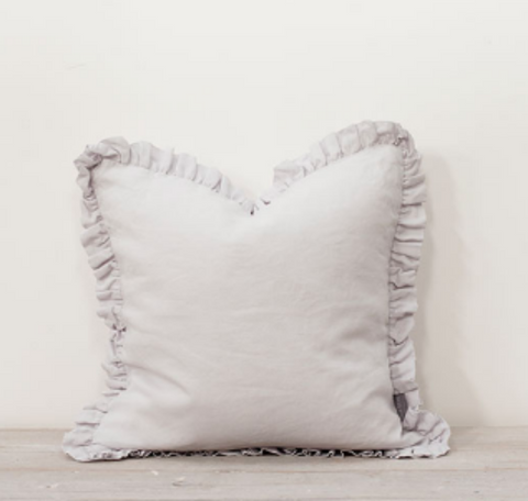 Silver Grey ruffle cushion