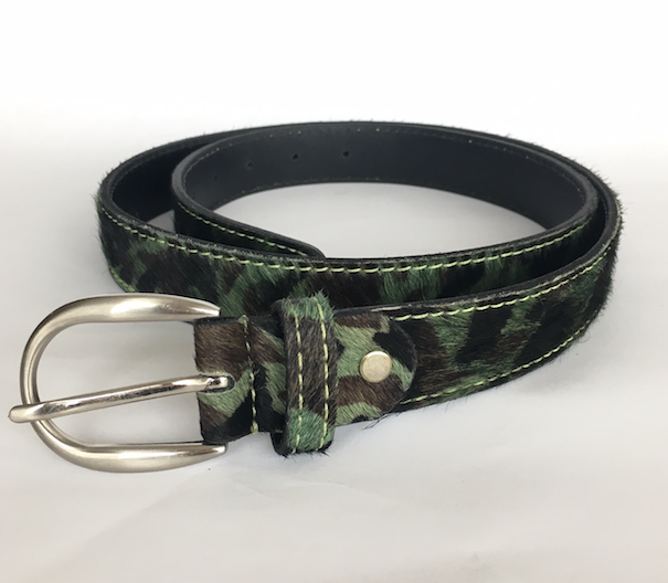 Green camo hide belt