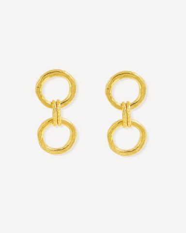 Gold earrings - hammered double hoop