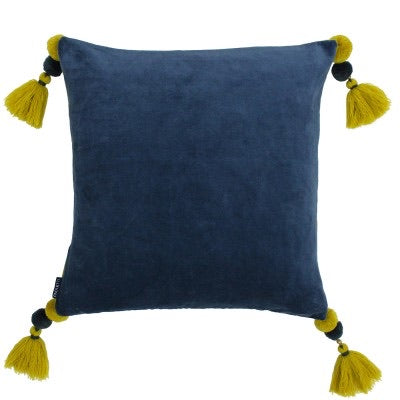 Velvet tassel cushion, Smokey blue