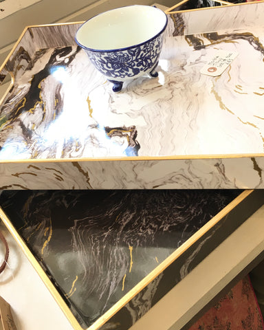 Black marble effect tray