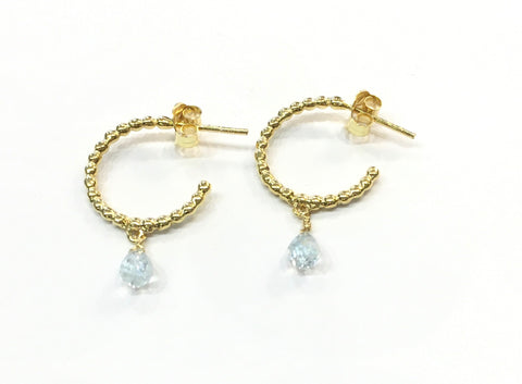 Gold earrings, hoop with single stone