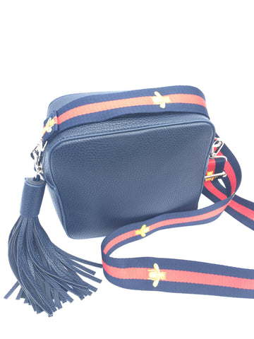 Cross body bag, Navy with choice of strap