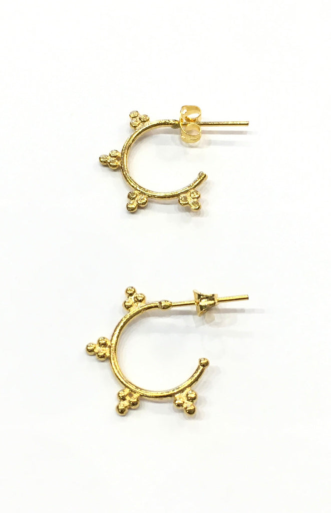 Gold hoop stud earrings