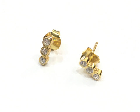 Gold earrings ,three stone stud