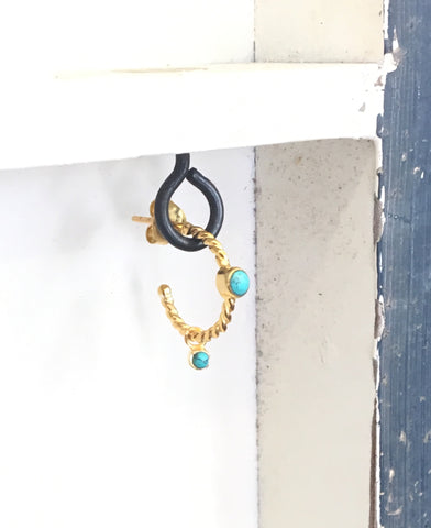 AG Gold twisted hoop with turquoise