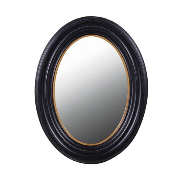 Black & Gold Oval Mirror