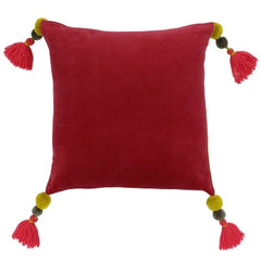 Velvet tassel cushion, pomegranate