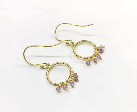 Gold earrings, hoops with stones