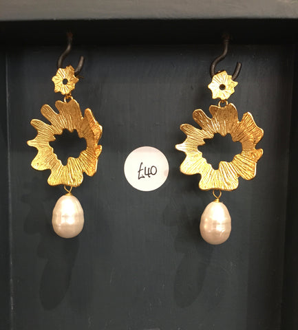 Pearl and flower drop earrings