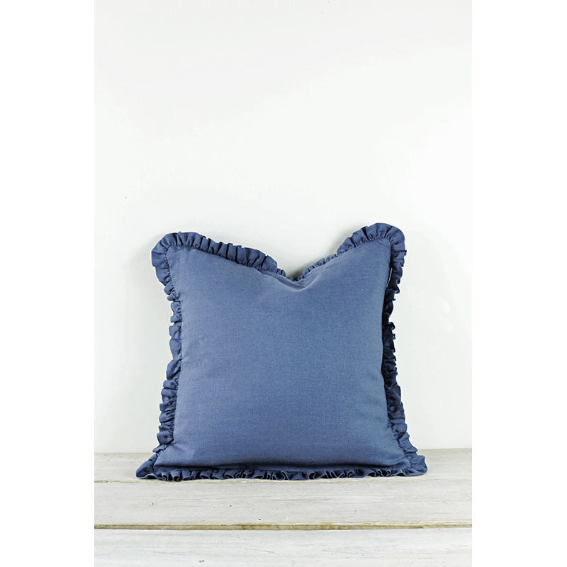 Light navy ruffle cushion